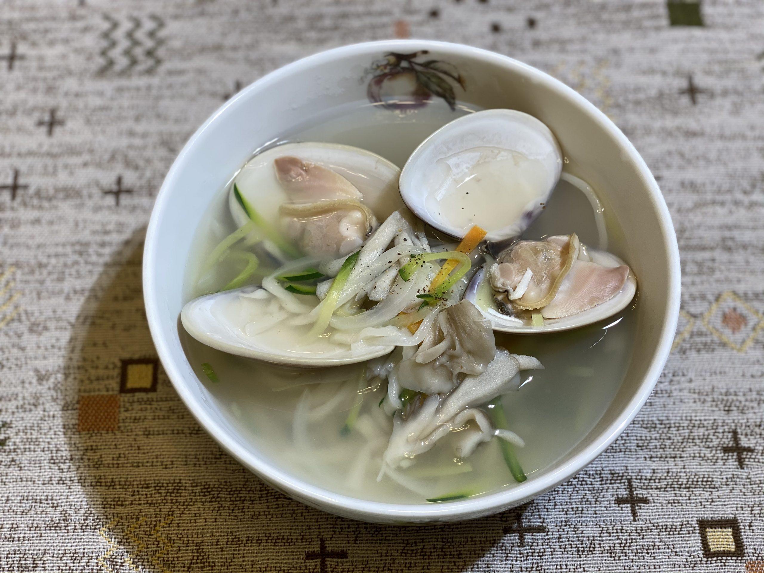 Olive家の簡単レシピ | 韓国料理 地はまぐり カルグクス